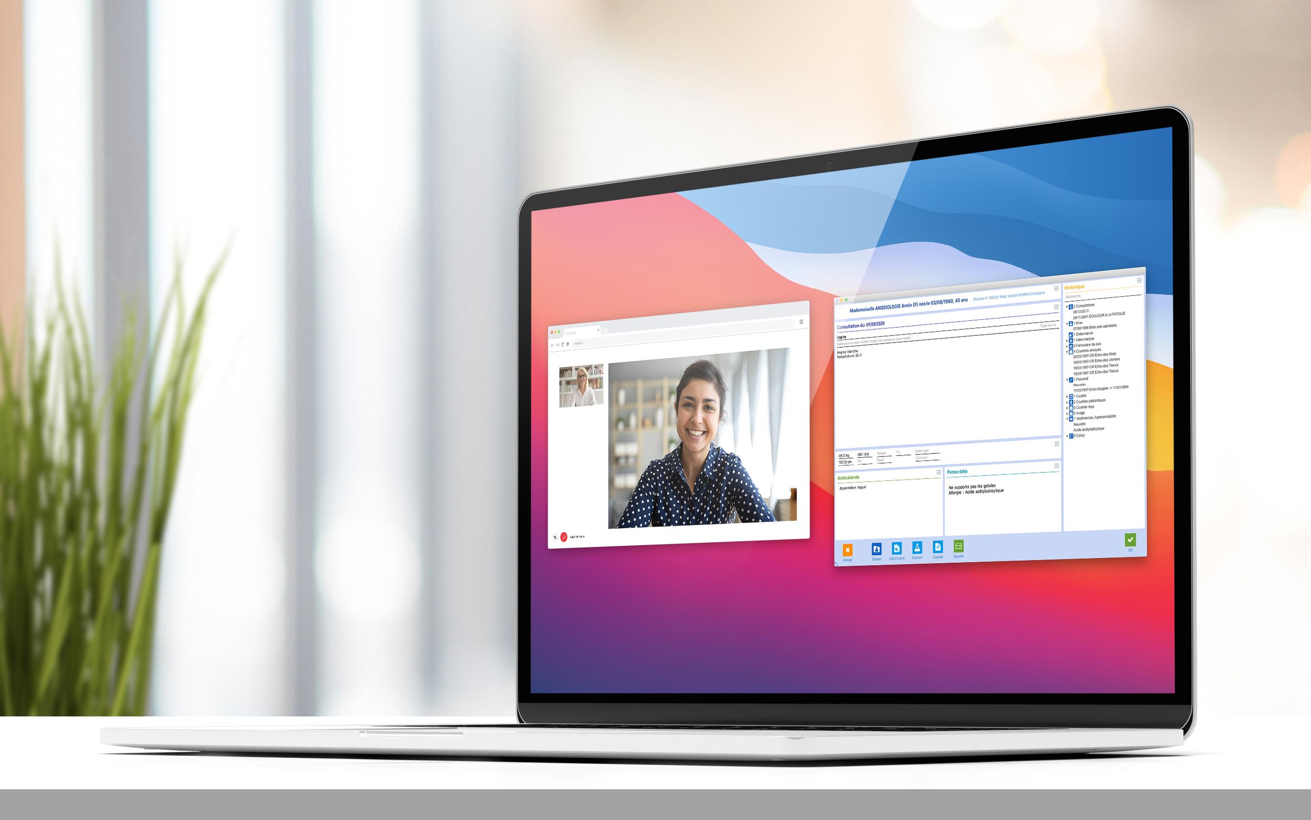 Médimust et Medvaiz, téléconsultation sur un ordinateur portable Mac